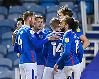 Sean Raggett of Portsmouth (20) is congratulated on scoring the first goal by Tom Naylor of Portsmouth during Portsmouth vs Oxford United, Sky Bet EFL League 1 Football at Fratton Park on 24th November 2020