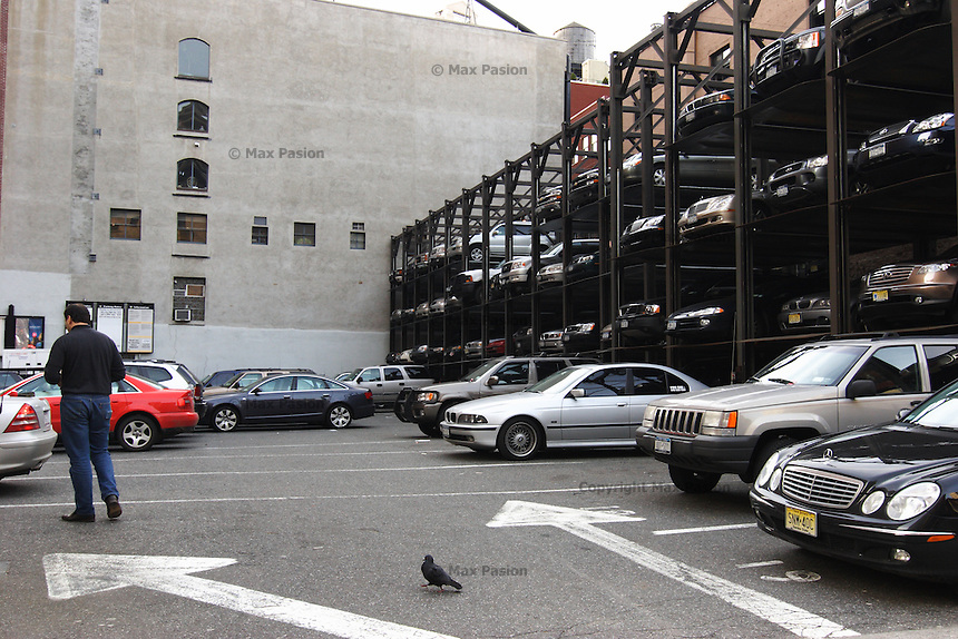 parking lot with pigeon; west broadway, tribeca; 239pm, 20jan2006