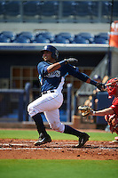 GCL Rays catcher Rafelin Lorenzo (8) at bat during the first game of a doubleheader against the GCL Red Sox on August 4, 2015 at Charlotte Sports Park in Port Charlotte, Florida.  GCL Red Sox defeated the GCL Rays 10-2.  (Mike Janes/Four Seam Images)