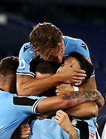 Football, Serie A: S.S. Lazio - Fiorentina, Olympic stadium, Rome, June 27, 2020. <br /> Lazio's Luis Alberto celebrates after scoring with his teammate during the Italian Serie A football match between S.S. Lazio and Fiorentina at Rome's Olympic stadium, Rome, on June 27, 2020. <br /> UPDATE IMAGES PRESS/Isabella Bonotto