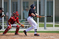 Minnesota Twins Kolton Kendrick (26) at bat in front of catcher Austin Rei (28) during an instructional league game against the Boston Red Sox on September 26, 2015 at CenturyLink Sports Complex in Fort Myers, Florida.  (Mike Janes/Four Seam Images)
