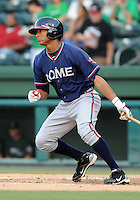 Catcher Christian Bethancourt (19) of the Rome Braves in a game against the Greenville Drive on Aug. 10, 2010, at Fluor Field at the West End in Greenville, S.C. Photo by: Tom Priddy/Four Seam Images.