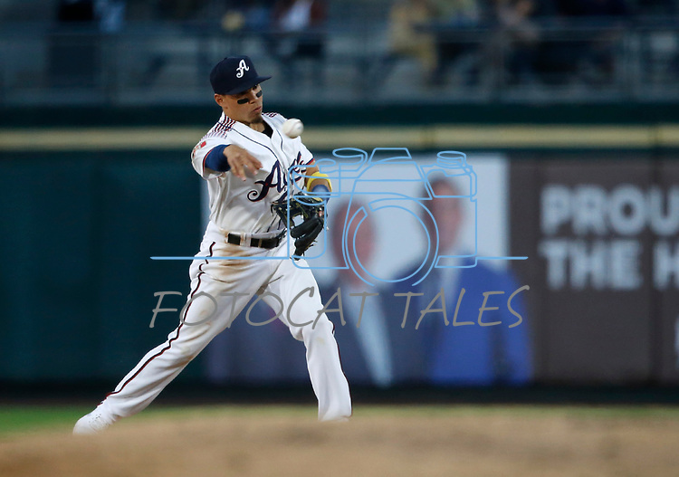 Reno Aces' Jancarlos Cinton makes a play against the Tacoma Rainiers, in Reno, Nev., on Friday, May 28, 2021. <br /> Photo by Cathleen Allison