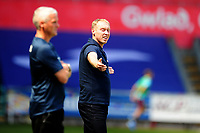 Steve Cooper Head Coach of Swansea City shouts instructions to his team from the dug-out during the Sky Bet Championship match between Swansea City and Leeds United at the Liberty Stadium in Swansea, Wales, UK. Sunday 12 July 2020