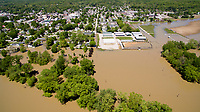 Flooding is pictured looking east along the White River at Cooper's Commons park in Spencer, Indiana on Sunday, May 7, 2017. Pictured at right is the Owen County Fairgrounds. (Photo by James Brosher)