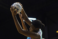 Grace Nweke takes a pass during the ANZ Premiership netball match between Central Pulse and Northern Mystics at TSB Bank Arena in Wellington, New Zealand on Monday, 10 May 2021. Photo: Dave Lintott / lintottphoto.co.nz