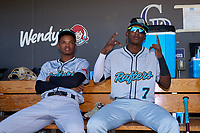 Salt River Rafters infielders Jose Devers (2) and Geraldo Perdomo (7) before the Arizona Fall League Championship Game against the Surprise Saguaros on October 26, 2019 at Salt River Fields at Talking Stick in Scottsdale, Arizona. The Rafters defeated the Saguaros 5-1. (Zachary Lucy/Four Seam Images)