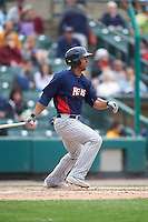 Toledo Mudhens center fielder Anthony Gose (12) at bat during a game against the Rochester Red Wings on June 12, 2016 at Frontier Field in Rochester, New York.  Rochester defeated Toledo 9-7.  (Mike Janes/Four Seam Images)
