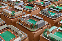 BNPS.co.uk (01202 558833)<br /> Pic: Zachary Culpin/BNPS<br /> <br /> Pictured: Villa Park, home to Aston Villa<br />  <br /> An incredible collection of model football stadiums handmade by a soccer fan have sold for almost £19,000 after being found in a storage unit.<br /> <br /> Model-maker John Le Maitre created miniature versions of all 92 English Football League club grounds from the 1980s, as well as the old Wembley Stadium.<br /> <br /> They featured on a Blue Peter episode that year and are a throwback to a bygone age when football grounds with their banks of terraces looked very different to today's super stadiums.
