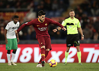 Football, Serie A: AS Roma - US Sassuolo, Olympic stadium, Rome, December 26, 2018. <br /> Roma's Diego Perotti kicks a penalty a scores during the Italian Serie A football match between Roma and Sassuolo at Rome's Olympic stadium, on December 26, 2018.<br /> UPDATE IMAGES PRESS/Isabella Bonotto
