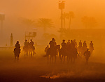 A contingent of European Breeders Cup workers take to the track in preparation for the upcoming Breeders Cup at Santa Anita Park on October 31, 2012.