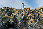 Kids climbing our mountain