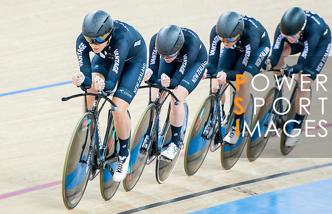 The team of New Zealand with Racquel Sheath, Rushlee Buchanan, Kirstie James and Jaime Nielsen compete in the Women's Team Pursuit Finals as part of the 2017 UCI Track Cycling World Championships on 13 April 2017, in Hong Kong Velodrome, Hong Kong, China. Photo by Marcio Rodrigo Machado / Power Sport Images
