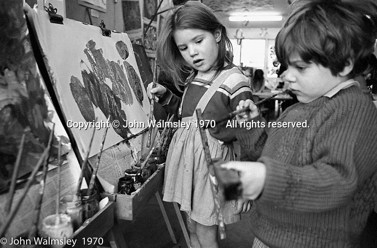 kids painting, Vittoria Primary School, Islington, London.  1970.