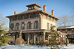 Southern Mansion, 1860, bed and breakfast in December with snow. 720 Washington Street.