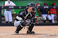 Quad Cities River Bandits catcher William Hancock (11) during a game against the Wisconsin Timber Rattlers on July 11, 2021 at Neuroscience Group Field at Fox Cities Stadium in Grand Chute, Wisconsin.  (Brad Krause/Four Seam Images)