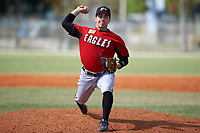 Edgewood College Eagles pitcher Alex Meister (8) delivers a pitch during a game against the Illinois College Blueboys on March 14, 2017 at Terry Park in Fort Myers, Florida.  Edgewood defeated Illinois College 11-2.  (Mike Janes/Four Seam Images)