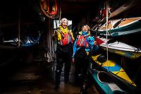 Portrait of Markus and Ingela Holgersson, owners of a kayaking centre - SKÄRGÅRDSIDYLLEN, Grönemad, Grebbestad, West Sweden.