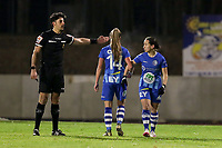 Match referee Baptiste Federico asks Lyndsey Van Belle (14) of AA Gent and Rkia Mazrouai (2) of AA Gent to move back before the free kick during a female soccer game between FC Femina White Star Woluwe and AA Gent Ladies on the 13 th matchday of the 2020 - 2021 season of Belgian Scooore Womens Super League , friday 5 th of February 2021  in Woluwe , Belgium . PHOTO SPORTPIX.BE | SPP | SEVIL OKTEM