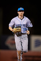 Hudson Valley Renegades center fielder Michael Smith (24) jogs back to the dugout during a game against the Connecticut Tigers on August 20, 2018 at Dodd Stadium in Norwich, Connecticut.  Hudson Valley defeated Connecticut 3-1.  (Mike Janes/Four Seam Images)
