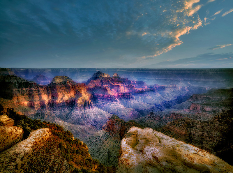 View of Grand Canyon from Bright Angel Point. North Rim of Grand Canyon National Park, Arizona