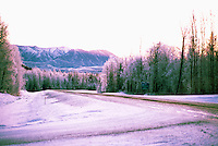 Alaska Highway, Northern Rockies, BC, British Columbia, Canada - at Turnoff to Liard River Hot Springs Provincial Park, Sunset
