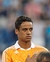 Houston Dynamo midfielder Calen Carr (3).  In a Major League Soccer (MLS) match, the New England Revolution tied Houston Dynamo, 2-2, at Gillette Stadium on May 19, 2012.