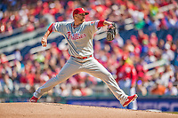 15 September 2013: Philadelphia Phillies starting pitcher Tyler Cloyd on the mound against the Washington Nationals at Nationals Park in Washington, DC. The Nationals took the rubber match of their 3-game series 11-2 to keep Washington's wildcard hopes alive. Mandatory Credit: Ed Wolfstein Photo *** RAW (NEF) Image File Available ***