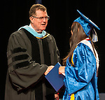 Houston ISD Superintendent Dr. Terry Grier congratulates graduates during the Chavez High School commencement at Reliant Arena, June 8, 2013.