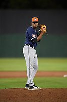 Connecticut Tigers relief pitcher Felix Viloria (40) gets ready to deliver a pitch during a game against the Auburn Doubledays on August 9, 2017 at Falcon Park in Auburn, New York.  Connecticut defeated Auburn 6-4.  (Mike Janes/Four Seam Images)