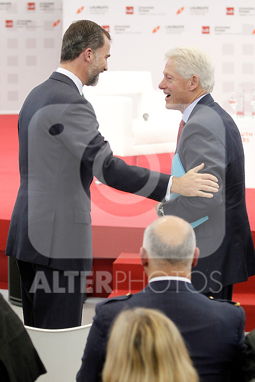 """Former U.S.A. President Bill Clinton (r) with Prince Felipe of Spain during his speech in Congress """"LAUREATE & JOBS SUMMIT ON YOUTH"""".May 21,2013. (ALTERPHOTOS/Acero)"""