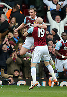 Pictured L-R: Kevin Nolan of West Ham celebrating his second goal with team mate James Collins. 01 February 2014<br /> Re: Barclay's Premier League, West Ham United v Swansea City FC at Boleyn Ground, London.