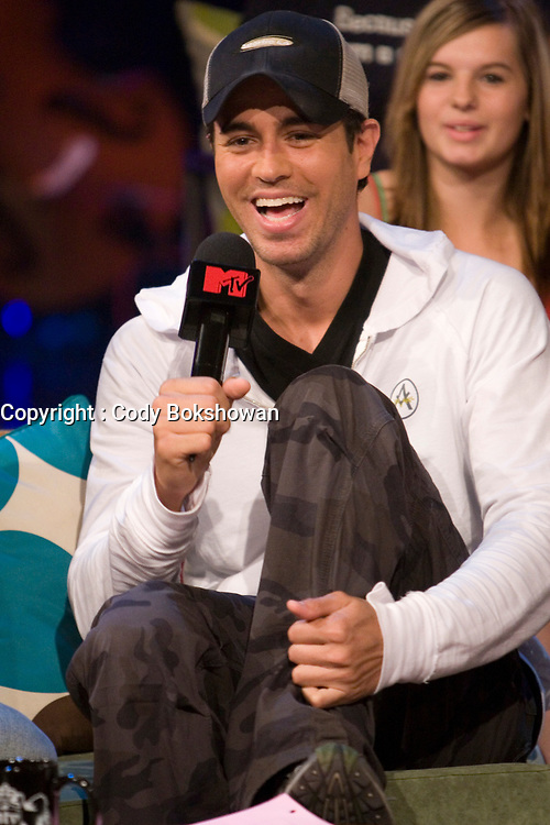 """Toronto (ON) CANADA, July 30, 2007-<br /> <br /> Latin music sensation Enrique Iglesias  is in the MTV<br /> studio talking about his latest album Insomniac and his appearance on<br /> """"Canadian Idol.""""<br /> <br /> photo by Cody Bokshowan - Images Distribution"""
