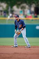 Toledo Mud Hens second baseman Omar Infante (49) during a game against the Indianapolis Indians on May 2, 2017 at Victory Field in Indianapolis, Indiana.  Indianapolis defeated Toledo 9-2.  (Mike Janes/Four Seam Images)