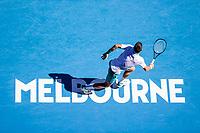10th February 2021, Melbourne, Victoria, Australia; Novak Djokovic of Serbia in action during round 2 of the 2021 Australian Open on February 10 2020, at Melbourne Park in Melbourne, Australia.