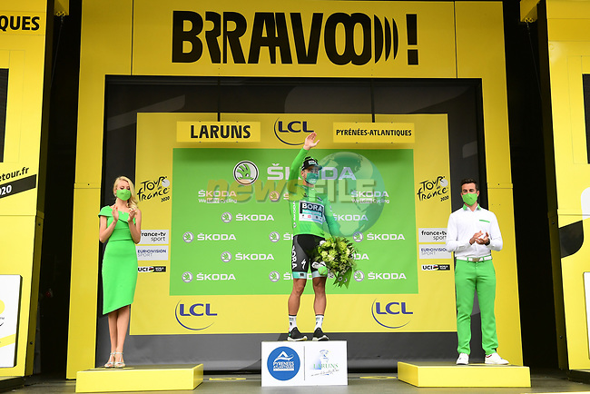 Peter Sagan (SVK) Bora-Hansgrohe retains the Green Jersey at the end of Stage 9 of Tour de France 2020, running 153km from Pau to Laruns, France. 6th September 2020. <br /> Picture: ASO/Alex Broadway | Cyclefile<br /> All photos usage must carry mandatory copyright credit (© Cyclefile | ASO/Alex Broadway)