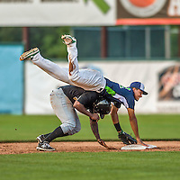 12 July 2015: Vermont Lake Monsters shortstop Richie Martin does a handstand as he turns a double-play to end the game against the West Virginia Black Bears at Centennial Field in Burlington, Vermont. Martin, the first round pick for the Oakland Athletics organization, drafted 20th overall, helped the Lake Monsters come back from a 4-0 deficit to defeat the Black Bears 5-4 in NY Penn League action. Mandatory Credit: Ed Wolfstein Photo *** RAW Image File Available ****