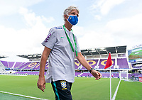 ORLANDO, FL - FEBRUARY 18: Pia Sundhage of Brazil walks off the field before a game between Argentina and Brazil at Exploria Stadium on February 18, 2021 in Orlando, Florida.