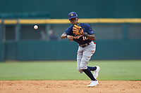 Second baseman Rob Gordon (10) of Ben Franklin Academy in Smyrna, GA playing for the Milwaukee Brewers scout team during the East Coast Pro Showcase at the Hoover Met Complex on August 2, 2020 in Hoover, AL. (Brian Westerholt/Four Seam Images)