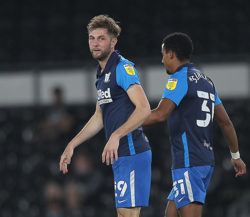 Preston North End's Tom Barkhuizencelebrates scoring his side's first goal <br /> <br /> Photographer Mick Walker/CameraSport<br /> <br /> Carabao Cup Second Round Northern Section - Derby County v Preston North End - Tuesday 15th September 2020 - Pride Park Stadium - Derby<br />  <br /> World Copyright © 2020 CameraSport. All rights reserved. 43 Linden Ave. Countesthorpe. Leicester. England. LE8 5PG - Tel: +44 (0) 116 277 4147 - admin@camerasport.com - www.camerasport.com