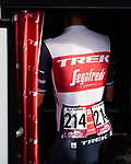Alex Kirsch (LUX) Trek-Segafredo in the team bus before Stage 20 of La Vuelta d'Espana 2021, running 202.2km from Sanxenxo to Mos, Spain. 4th September 2021.    <br /> Picture: Charly Lopez/Unipublic | Cyclefile<br /> <br /> All photos usage must carry mandatory copyright credit (© Cyclefile | Unipublic/Charly Lopez)