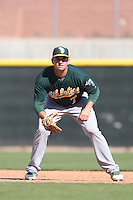 Anthony Aliotti #7 of the Oakland Athletics during a Minor League Spring Training Game against the Los Angeles Angels at the Los Angeles Angels Spring Training Complex on March 17, 2014 in Tempe, Arizona. (Larry Goren/Four Seam Images)