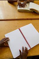 ETHIOPIA, Amhara, Gondar, school for blind children, reading braille letters / AETHIOPIEN, Amhara, Gonder, Schule fuer blinde Kinder, Blindenschrift lesen
