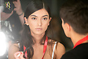 Model Lucia Rivera in the backstage during the Swimwear Fashion Week at Expomeloneras in Maspalomas, Gran Canaria Island, Canary Islands on October 3, 2019.