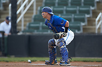 Mars Hill Lions catcher Austin Purser (37) on defense against the Queens Royals at Intimidators Stadium on March 30, 2019 in Kannapolis, North Carolina. The Royals defeated the Bulldogs 11-6 in game one of a double-header. (Brian Westerholt/Four Seam Images)