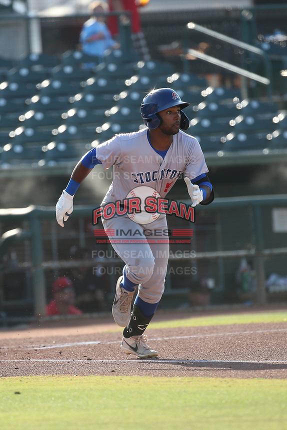Danny Bautista (5) of the Stockton Ports bats against the Inland Empire 66ers at San Manuel Stadium on June 27 2021 in San Bernardino, California. (Larry Goren/Four Seam Images)