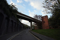 Pictured: The bridge that connects the train station to the car park. Friday 28 April 2017<br />