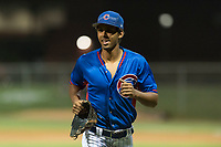 AZL Cubs 2 right fielder Brennen Davis (21) jogs off the field between innings of an Arizona League game against the AZL Indians 2 at Sloan Park on August 2, 2018 in Mesa, Arizona. The AZL Indians 2 defeated the AZL Cubs 2 by a score of 9-8. (Zachary Lucy/Four Seam Images)