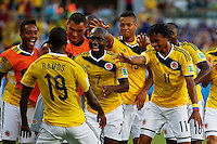 CUIABA - BRASIL -24-06-2014. Foto: Roberto Candia / Archivolatino<br /> Juan Cuadrado (#11), Pablo Armero (#7), Adrian Ramos (#9) jugadores de Colombia (COL) celebran un gol anotado a Japón (JPN) durante partido del Grupo C de la Copa Mundial de la FIFA Brasil 2014 jugado en el estadio Arena Pantanal de Cuiaba./ Juan Cuadrado (#11), Pablo Armero (#7), Adrian Ramos (#9) players of Colombia (COL) celebrate a goal scored to Japan (JPN) during the macth of the Group C of the 2014 FIFA World Cup Brazil played at Arena Pantanal stadium in Cuiaba. Photo: Roberto Candia / Archivo Latino<br /> VizzorImage PROVIDES THE ACCESS TO THIS PHOTOGRAPH ONLY AS A PRESS AND EDITORIAL SERVICE IN COLOMBIA AND NOT IS THE OWNER OF COPYRIGHT; ANOTHER USE IS REPONSABILITY OF THE END USER. NO SALES, NO MERCHANDASING. ALL COPYRIGHT IS ARCHIVOLATINO