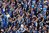 BOGOTA - COLOMBIA, 06-05-2018: Hinchas de Millonarios, animan a su equipo, durante partido de la fecha 19 entre Independiente Santa Fe y Millonarios, por la Liga Aguila I 2018, en el estadio Nemesio Camacho El Campin de la ciudad de Bogota. / Fans of Millonarios, cheer for their team during a match of the 19th date between Independiente Santa Fe and Millonarios, for the Liga Aguila I 2018 at the Nemesio Camacho El Campin Stadium in Bogota city, Photo: VizzorImage / Luis Ramírez / Staff.